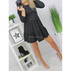 Czarna sukienka z falbanami brokat