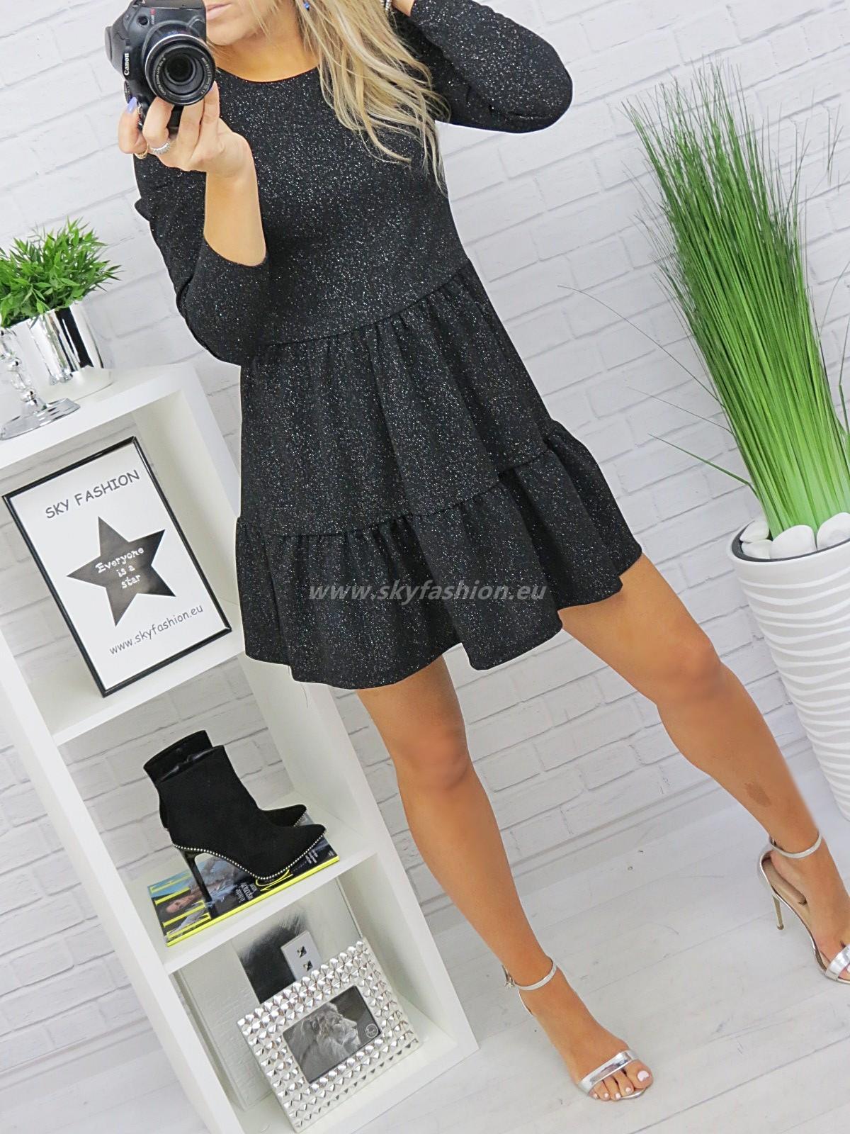 SkyFashion śliczna, trapezowa czarna sukienka z brokatem