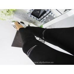 Czarne welurowe spodnie z wysokim stanem i zameczkami