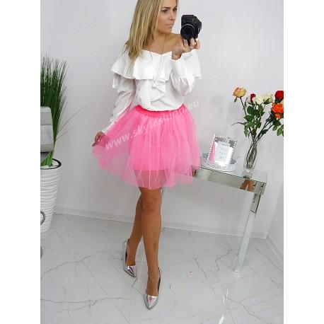 c5213d27 SkyFashion rozkloszowana spódnica z tiulu w kolorze różowym