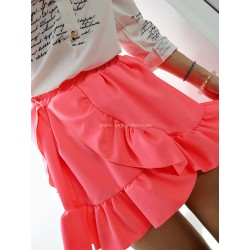 Rozkloszowana  spódnica mini, neonowa