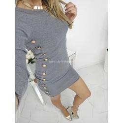 Popielata sukienka prążkowana