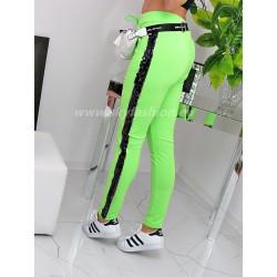 Neonowe spodnie dresowe z lampasami