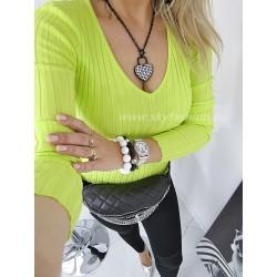 Dopasowana bluzka prązkowana  neon
